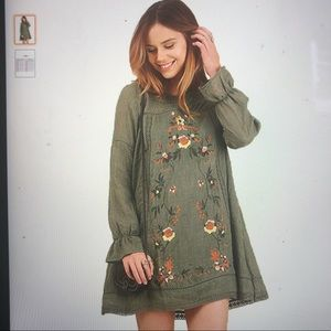 Umgee Olive Long Sleeve embroidered dress